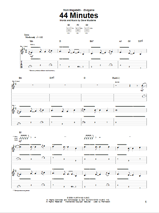 Megadeth 44 Minutes sheet music notes and chords
