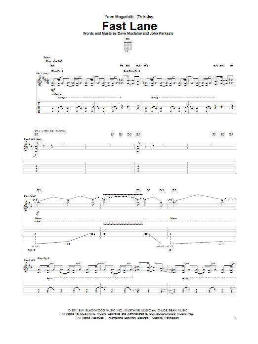 Megadeth Fast Lane sheet music notes and chords. Download Printable PDF.