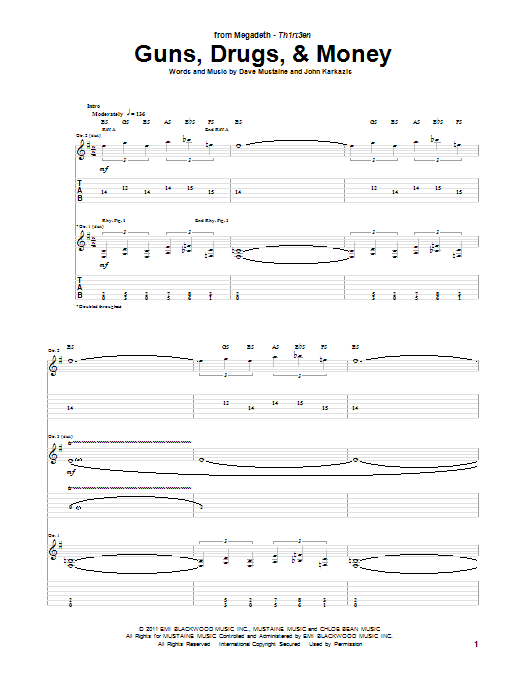 Megadeth Guns, Drugs, & Money sheet music notes and chords. Download Printable PDF.