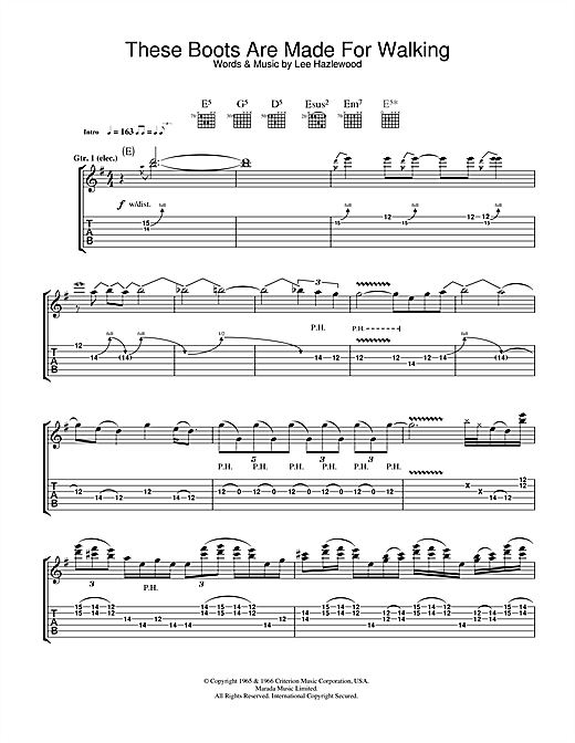 Megadeth These Boots Are Made For Walking Sheet Music Pdf Notes Chords Rock Score Guitar Chords Lyrics Download Printable Sku 100716