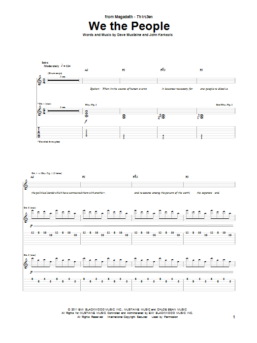 Megadeth We The People sheet music notes and chords. Download Printable PDF.
