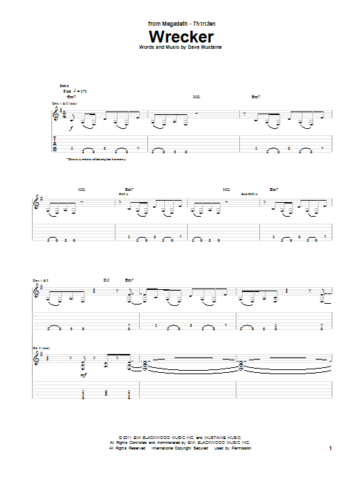 Megadeth Wrecker sheet music notes and chords. Download Printable PDF.