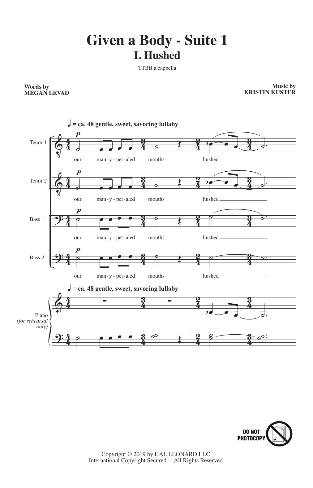 Megan Levad & Kristin Kuster Given A Body: Suite 1 sheet music notes and chords. Download Printable PDF.