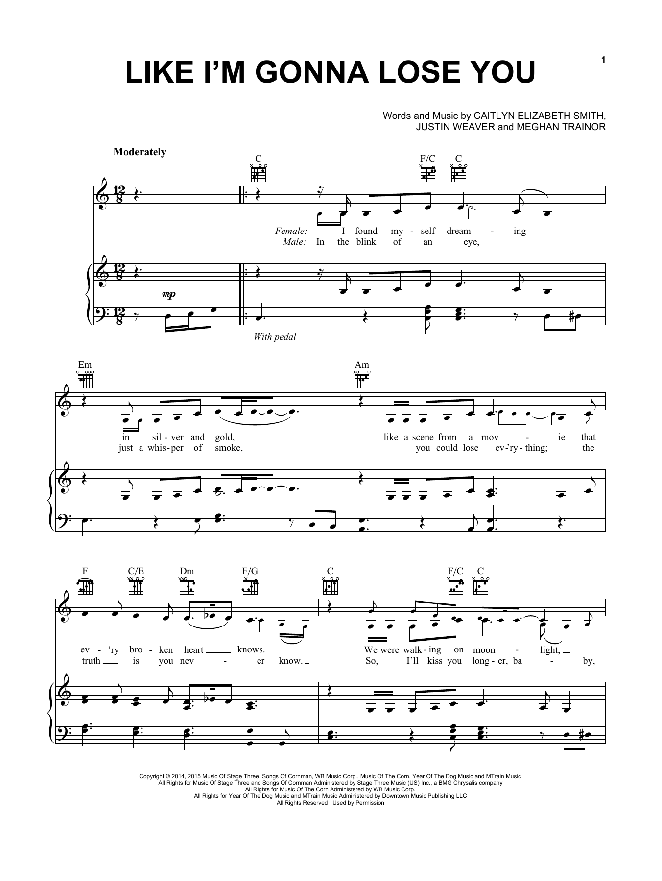 Meghan Trainor Like I'm Gonna Lose You sheet music notes and chords. Download Printable PDF.