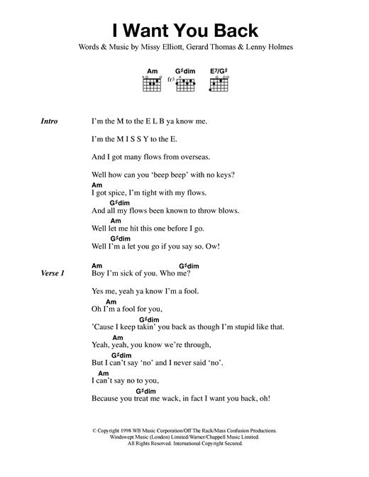 Mel B I Want You Back (feat. Missy Elliott) sheet music notes and chords. Download Printable PDF.