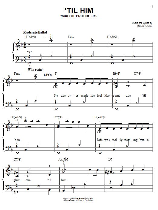 Mel Brooks 'Til Him sheet music notes and chords. Download Printable PDF.