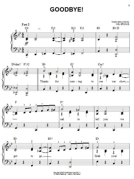 Mel Brooks Goodbye! sheet music notes and chords. Download Printable PDF.