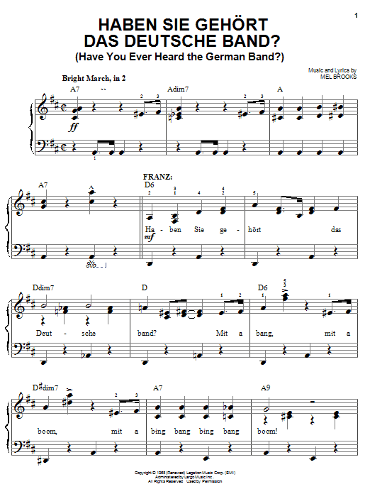 Mel Brooks Haben Sie Gehort Das Deutsche Band? (Have You Ever Heard The German Band?) sheet music notes and chords. Download Printable PDF.