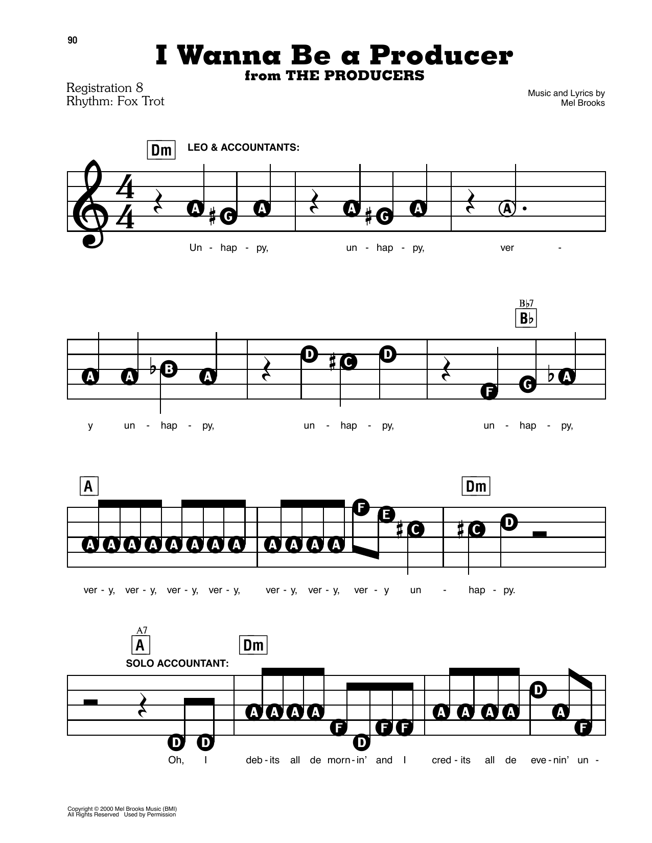 Mel Brooks I Wanna Be A Producer (from The Producers) sheet music notes and chords. Download Printable PDF.