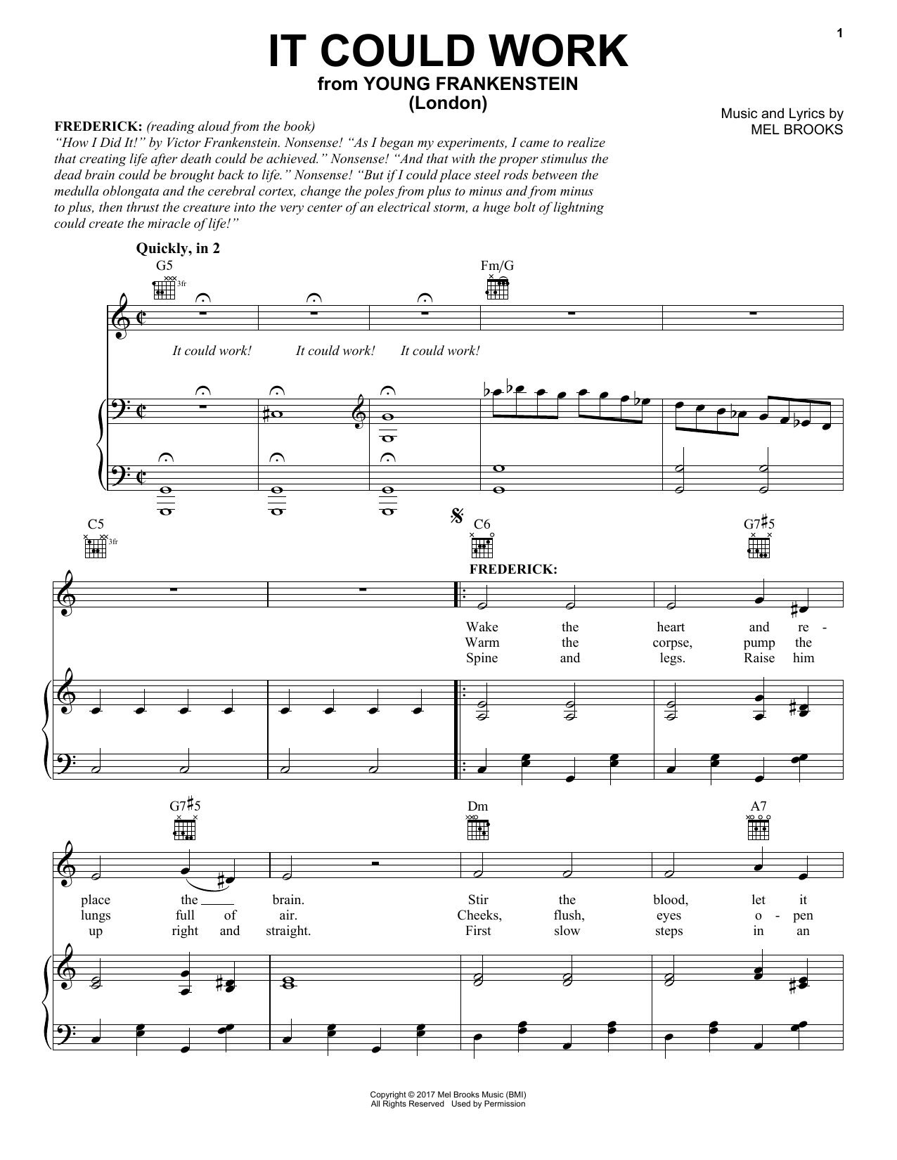 Mel Brooks It Could Work (from Young Frankenstein) sheet music notes and chords. Download Printable PDF.