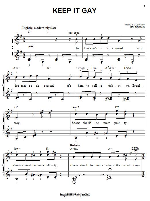 Mel Brooks Keep It Gay sheet music notes and chords. Download Printable PDF.