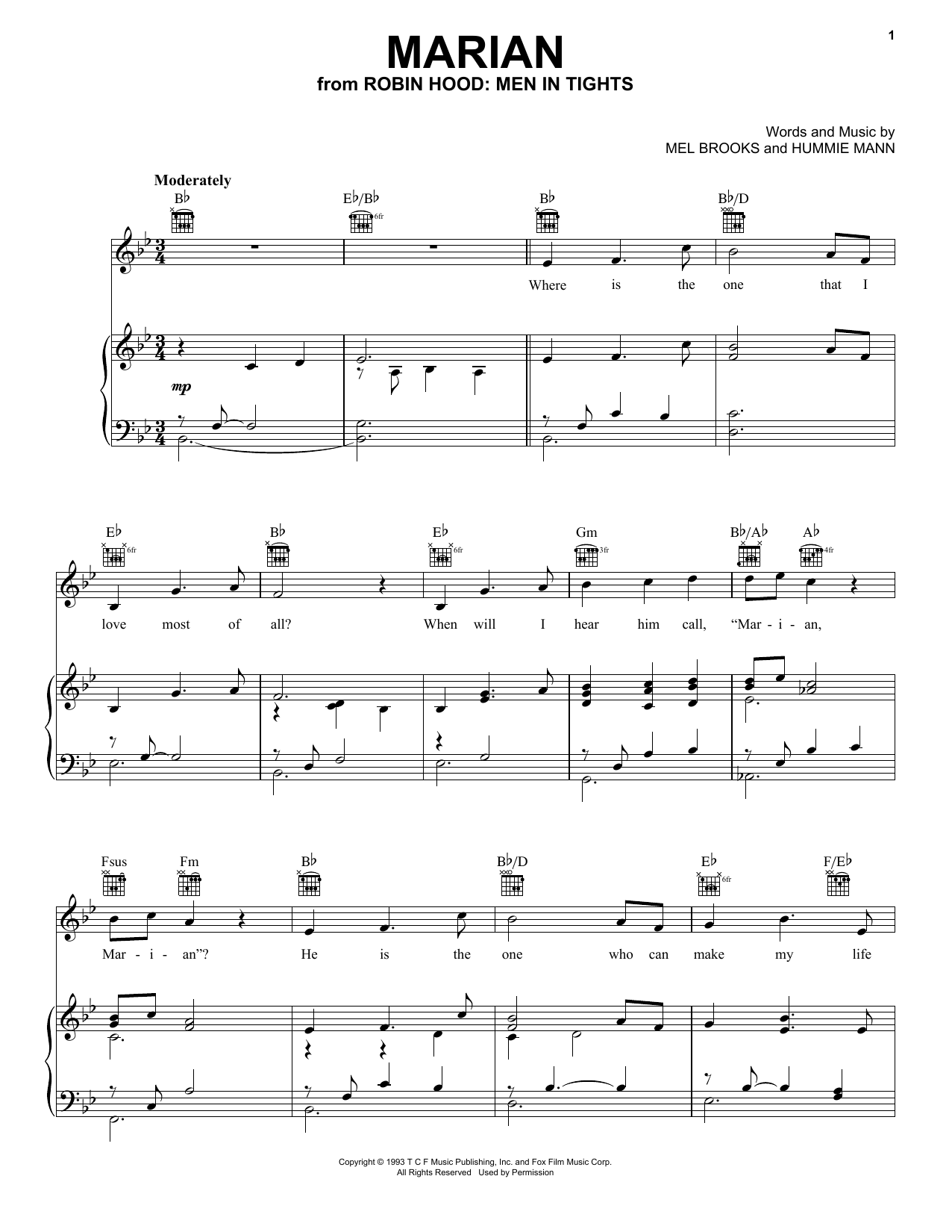 Mel Brooks Marian (from Robin Hood: Men In Tights) sheet music notes and chords. Download Printable PDF.