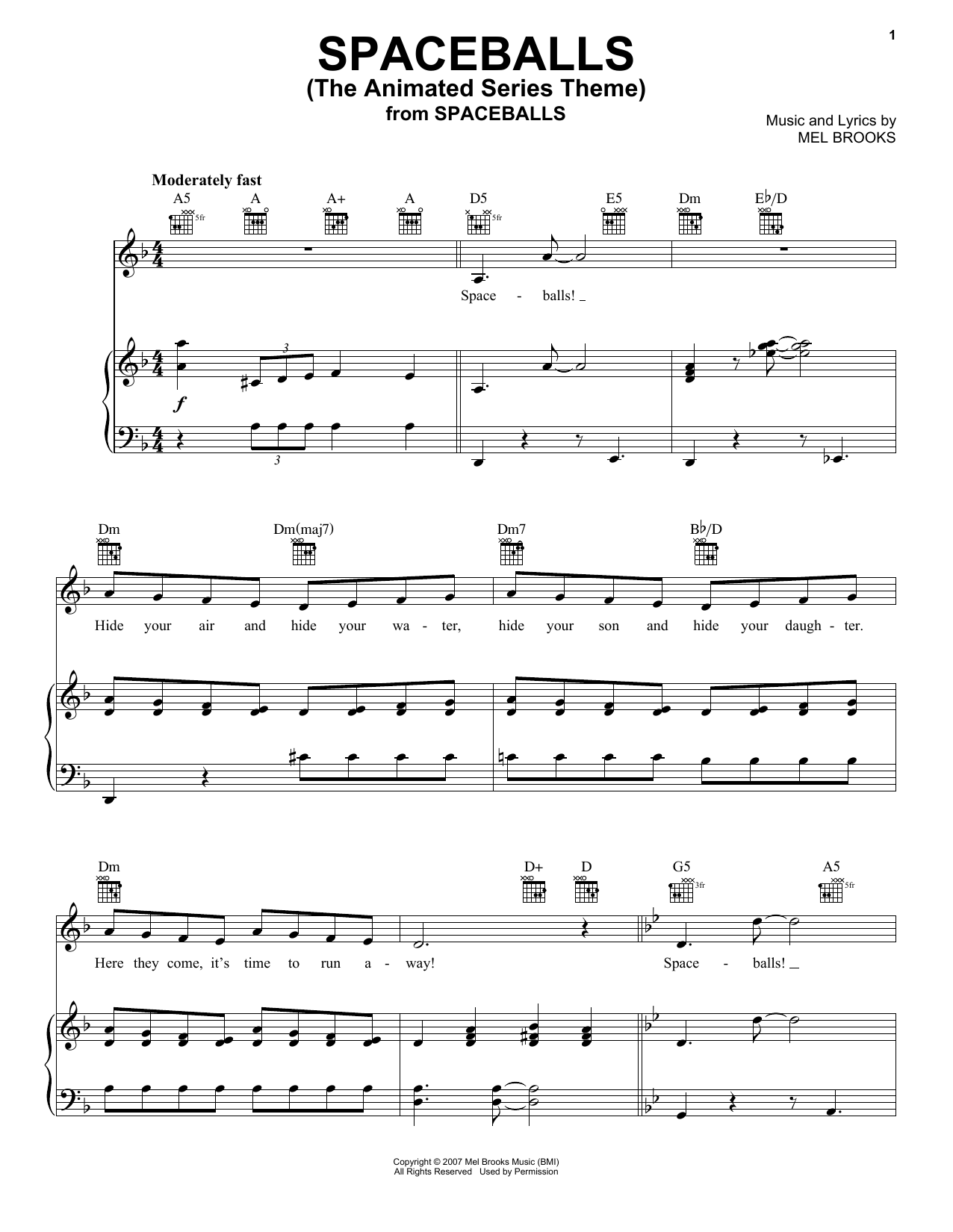Mel Brooks Spaceballs (The Animated Series Theme) (from Spaceballs) sheet music notes and chords. Download Printable PDF.