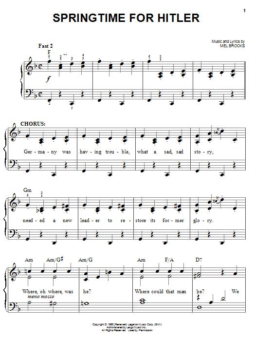 Mel Brooks Springtime For Hitler sheet music notes and chords. Download Printable PDF.