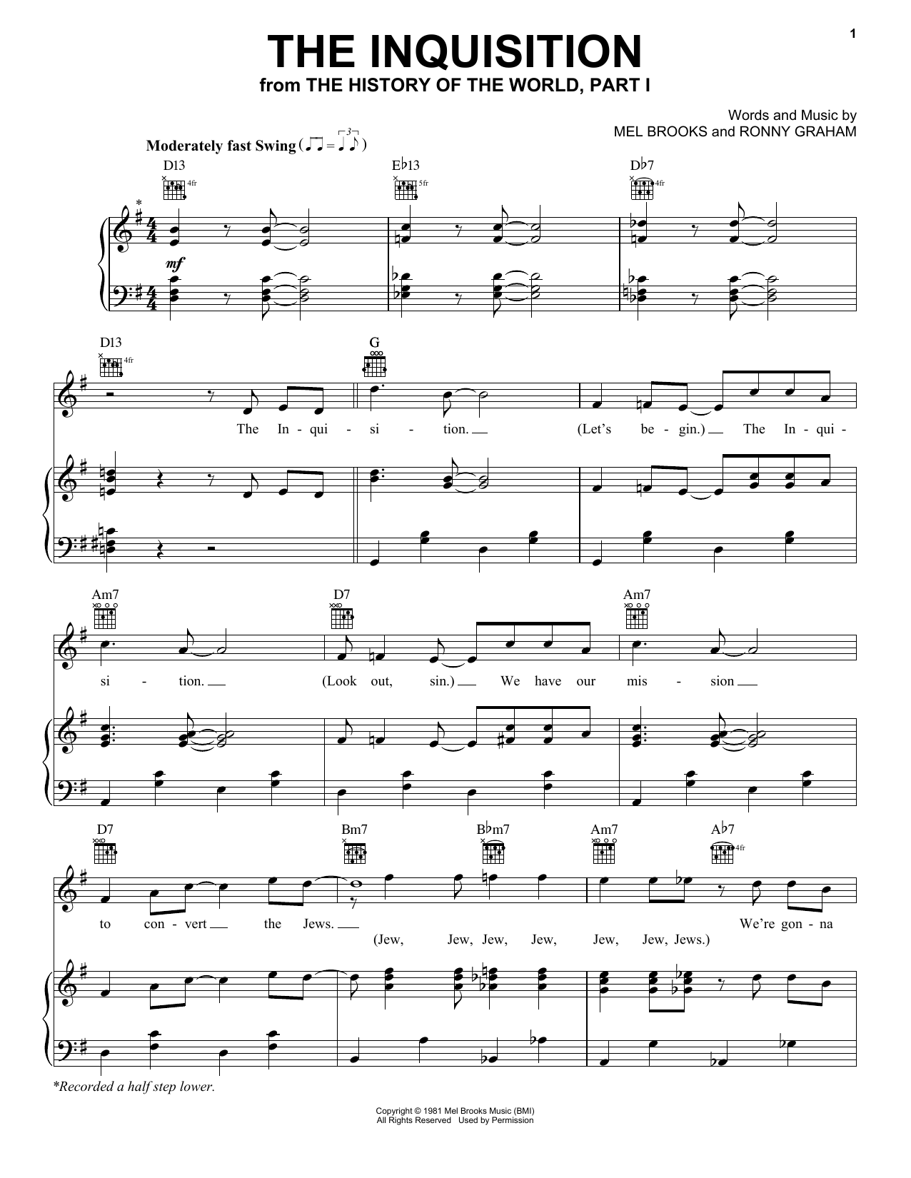 Mel Brooks The Inquisition (from The History Of The World, Part I) sheet music notes and chords. Download Printable PDF.