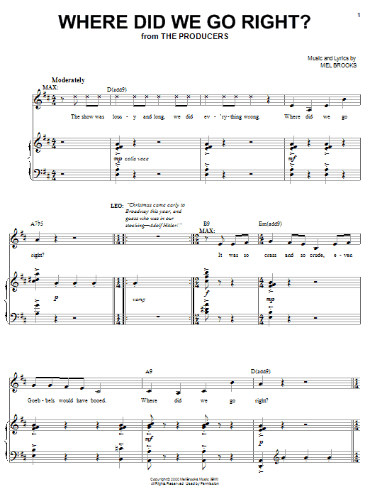 Mel Brooks Where Did We Go Right? sheet music notes and chords. Download Printable PDF.
