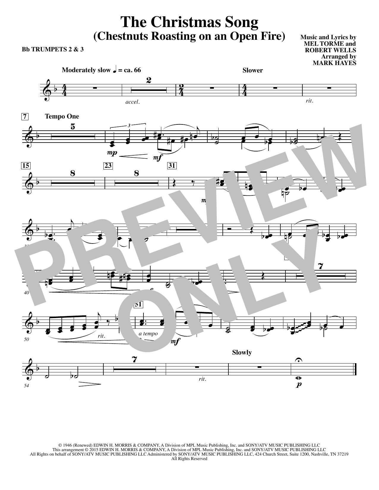 Mel Torme The Christmas Song (Chestnuts Roasting On An Open Fire) - Bb Trumpet 2,3 sheet music notes and chords. Download Printable PDF.