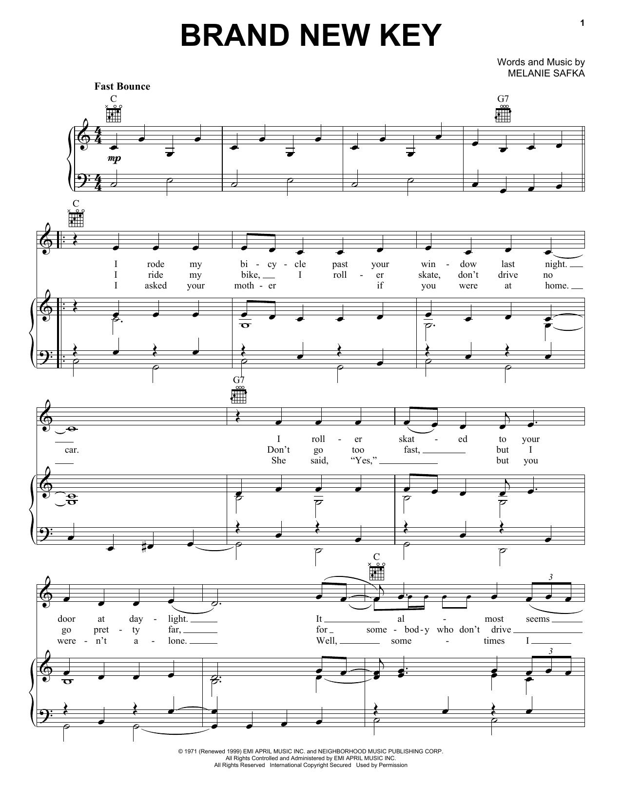 Melanie Brand New Key sheet music notes and chords. Download Printable PDF.