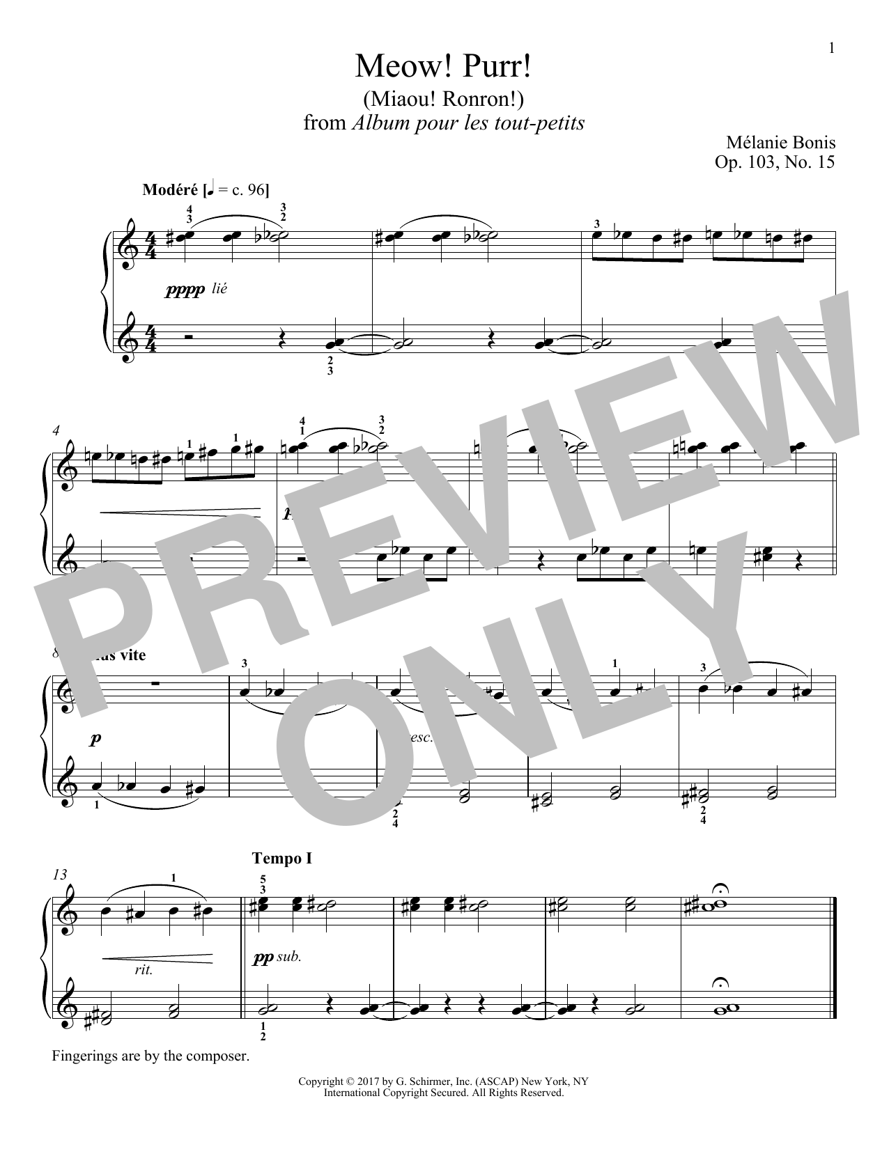 Melanie Bonis Meow! Purr! (Miaou! Ronron!) sheet music notes and chords