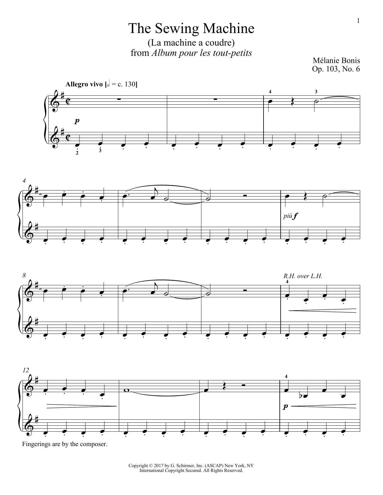 Melanie Bonis The Sewing Machine (La machine a courde) sheet music notes and chords. Download Printable PDF.