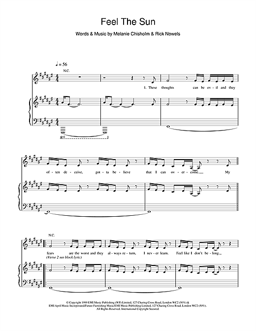Melanie C Feel The Sun sheet music notes and chords