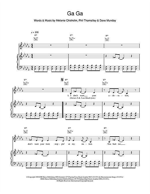 Melanie C Ga Ga sheet music notes and chords