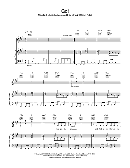 Melanie C Go! sheet music notes and chords. Download Printable PDF.
