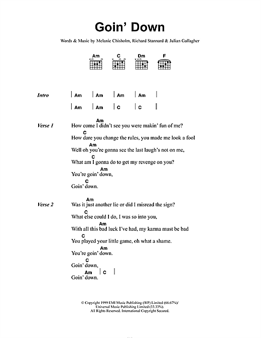 Melanie C Goin' Down sheet music notes and chords. Download Printable PDF.