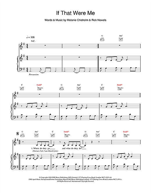 Melanie C If That Were Me sheet music notes and chords. Download Printable PDF.