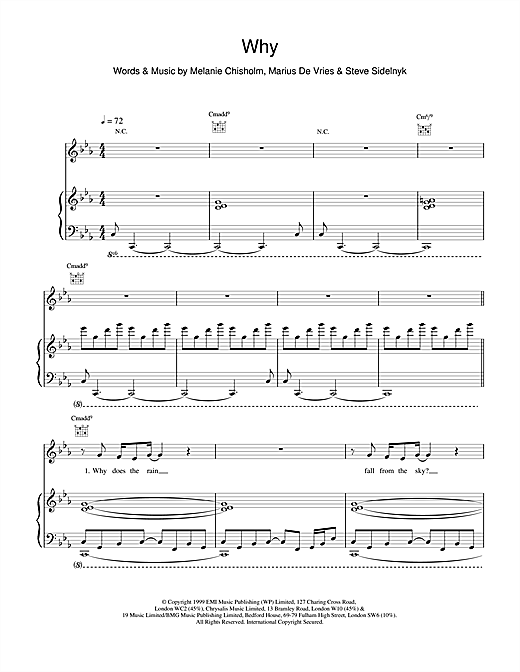 Melanie C Why sheet music notes and chords. Download Printable PDF.