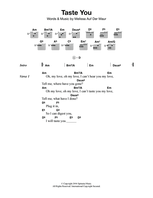Melissa Auf Der Maur Taste You sheet music notes and chords. Download Printable PDF.