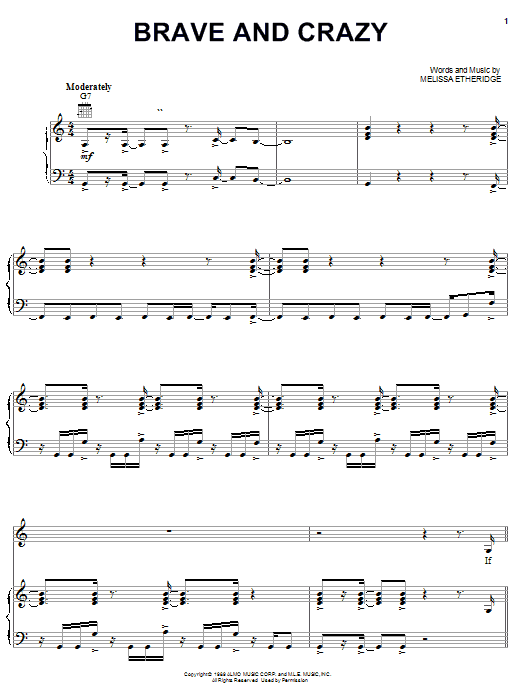 Melissa Etheridge Brave And Crazy sheet music notes and chords. Download Printable PDF.