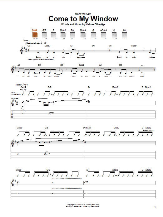Melissa Etheridge Come To My Window sheet music notes and chords. Download Printable PDF.