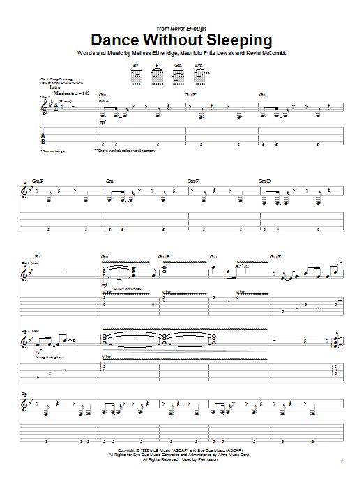 Melissa Etheridge Dance Without Sleeping sheet music notes and chords