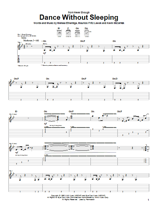 Melissa Etheridge Dance Without Sleeping sheet music notes and chords. Download Printable PDF.