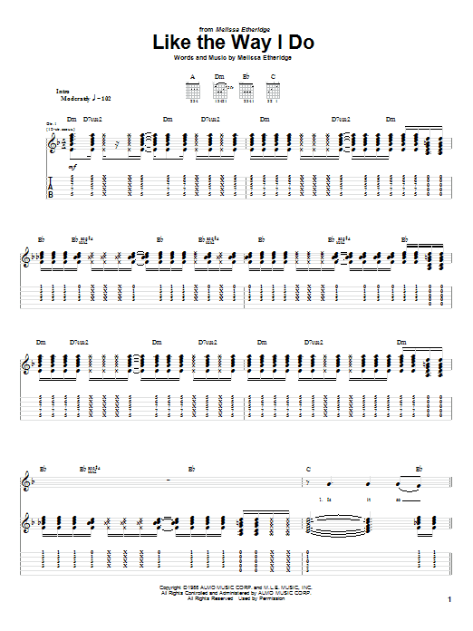 Melissa Etheridge Like The Way I Do sheet music notes and chords