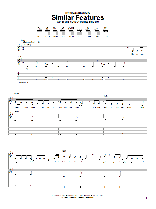Melissa Etheridge Similar Features sheet music notes and chords. Download Printable PDF.