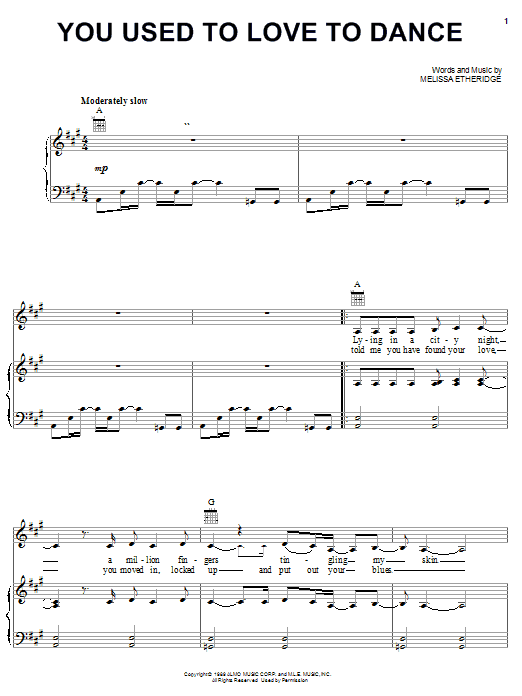 Melissa Etheridge You Used To Love To Dance sheet music notes and chords. Download Printable PDF.