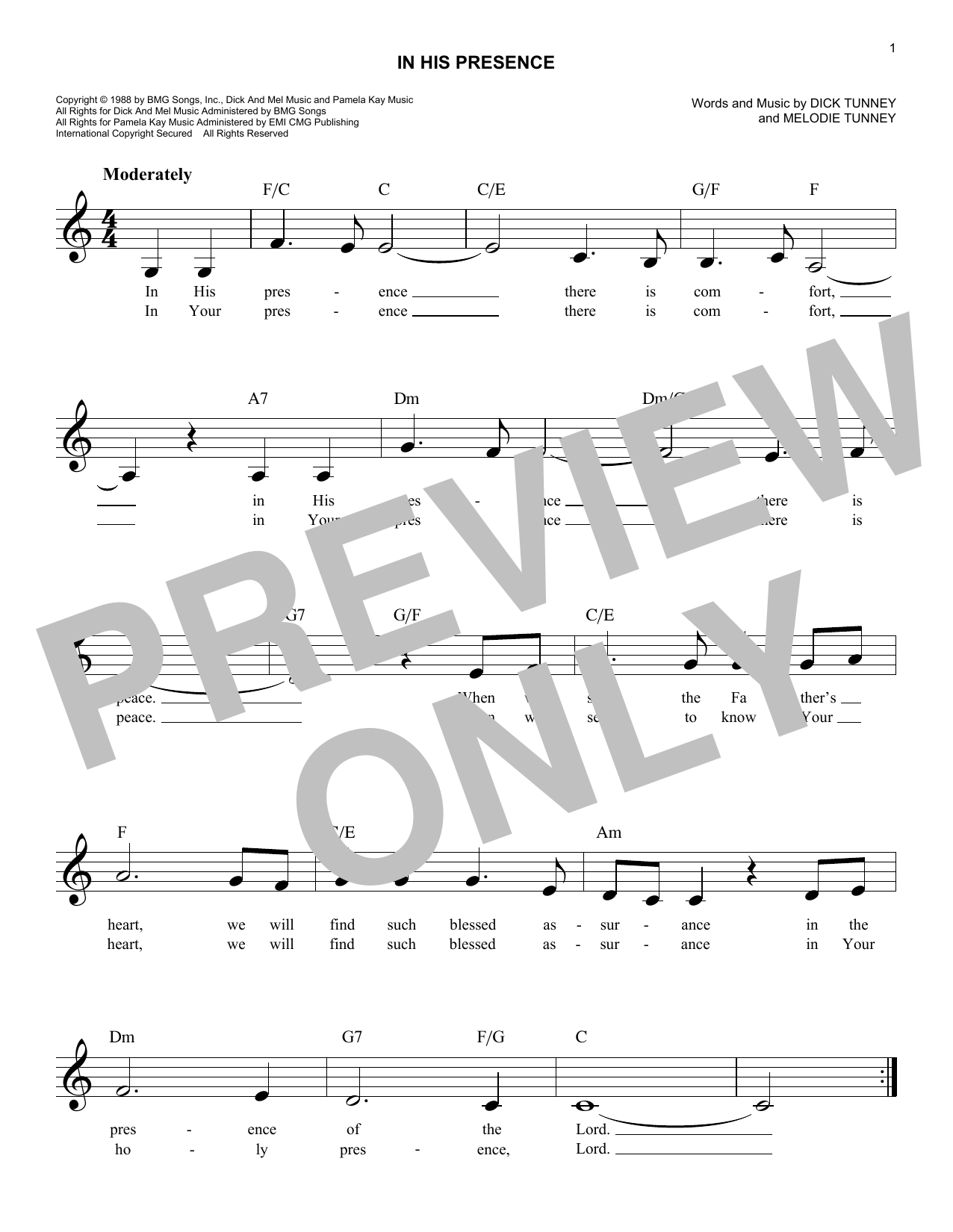 Melodie Tunney In His Presence sheet music notes and chords. Download Printable PDF.