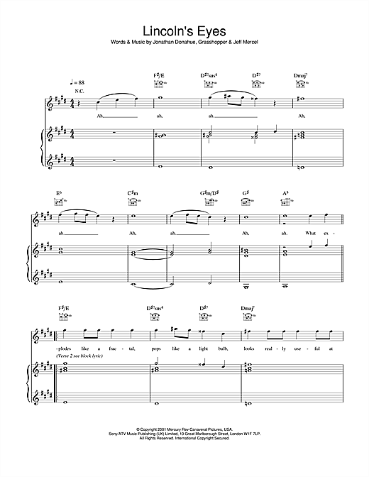 Mercury Rev Lincoln's Eyes sheet music notes and chords