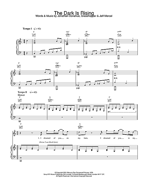 Mercury Rev The Dark Is Rising sheet music notes and chords