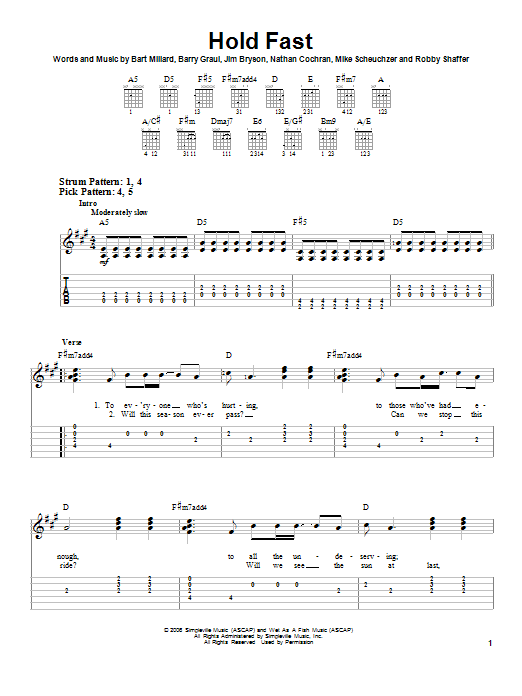 MercyMe Hold Fast sheet music notes and chords. Download Printable PDF.