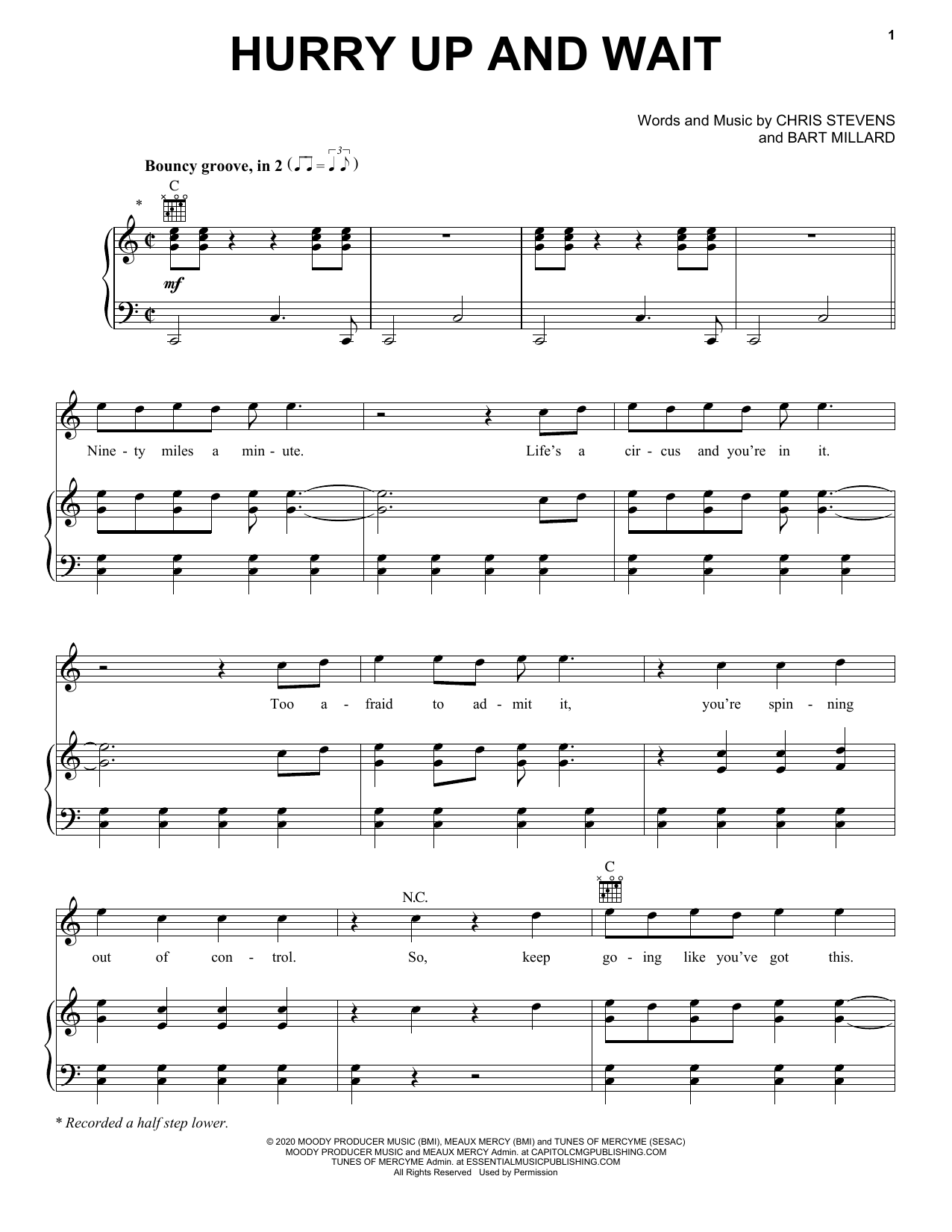 MercyMe Hurry Up And Wait sheet music notes and chords. Download Printable PDF.