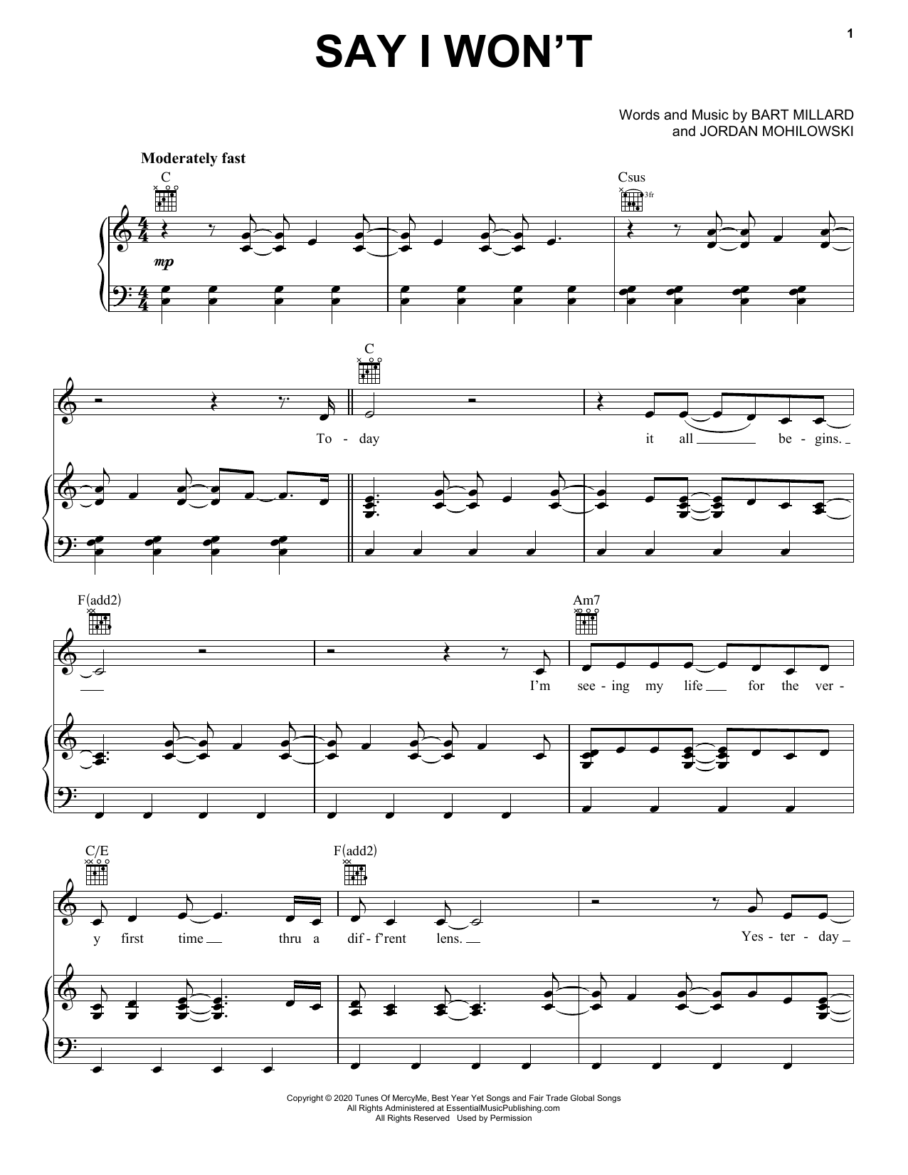 MercyMe Say I Won't sheet music notes and chords. Download Printable PDF.