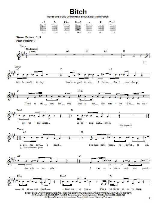 Meredith Brooks Bitch sheet music notes and chords. Download Printable PDF.