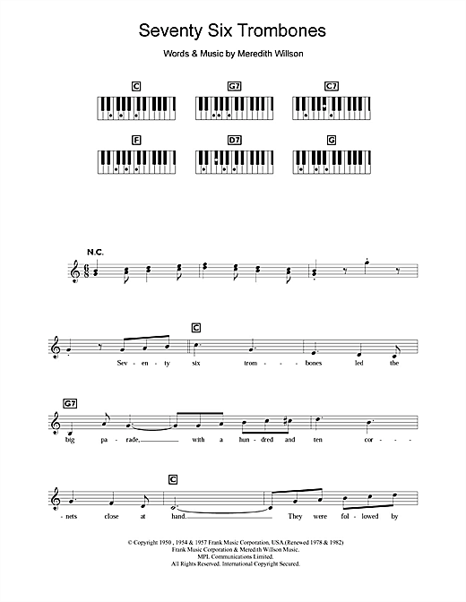 Meredith Willson Seventy Six Trombones sheet music notes and chords. Download Printable PDF.