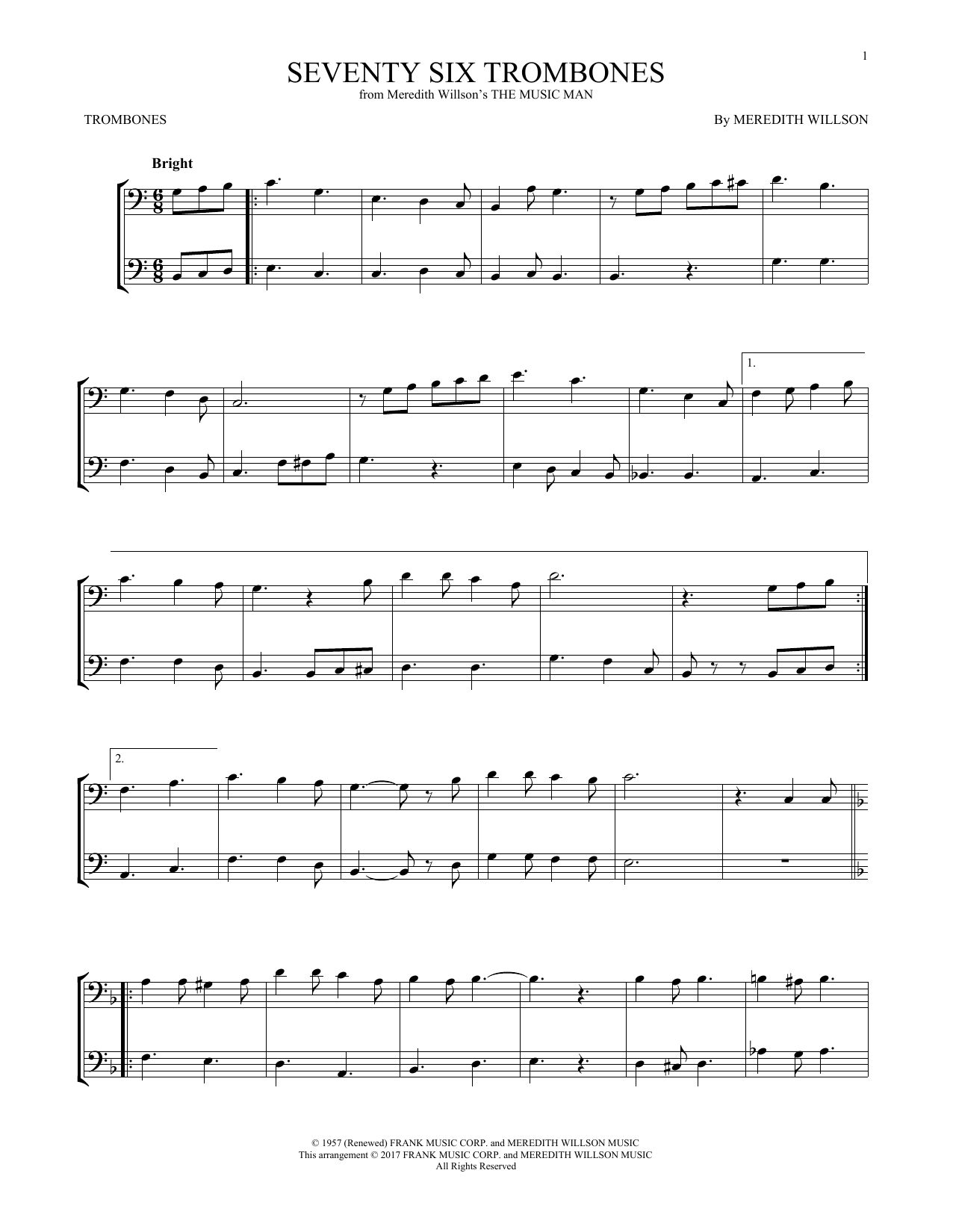Meredith Willson Seventy Six Trombones (from The Music Man) sheet music notes and chords. Download Printable PDF.