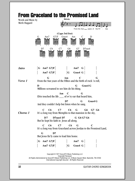 Merle Haggard From Graceland To The Promised Land sheet music notes and chords. Download Printable PDF.