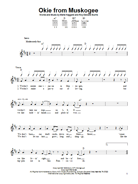 Merle Haggard Okie From Muskogee sheet music notes and chords. Download Printable PDF.