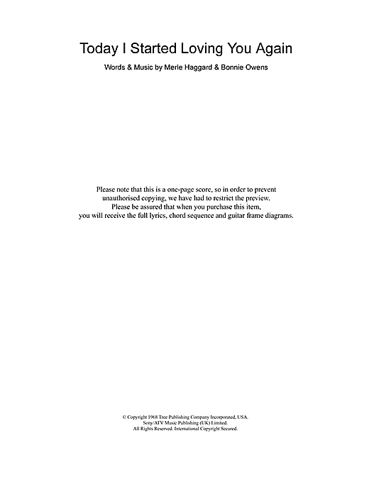 Merle Haggard Today I Started Loving You Again sheet music notes and chords. Download Printable PDF.